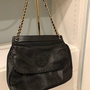 Tory Burch Marion Black Leather Saddle Bag